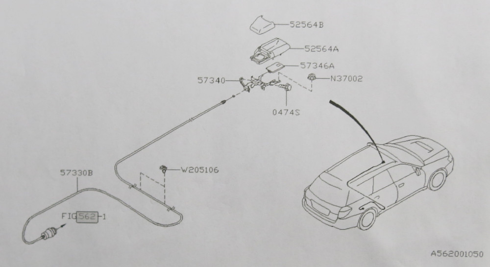 2005-2009 Subaru Legacy Outback XT Fuel Gas Door Lid Release Cable OEM 05-09